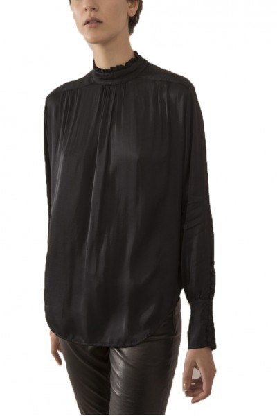 Sack's - Women's Shishi V Neck Ribbed Knitted Top - Black