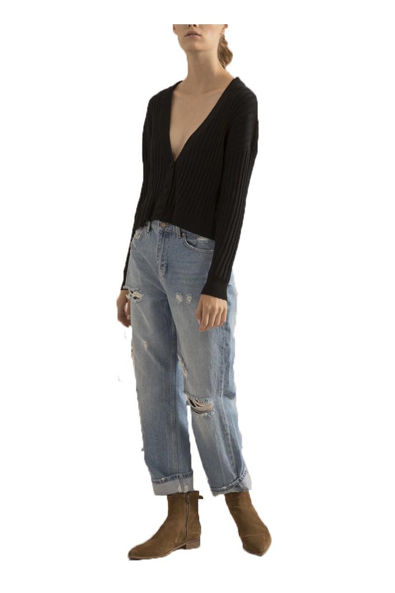 Sack's - Women's Shishi V Neck Ribbed knitted Top - Grey Melange