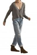 Sack's - Women's Jill Cable Knit V Neck Sweater - Grey Melange