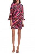 Trina Turk - Women's Mixed Stripe Print Boat Neckline Dress - Multi