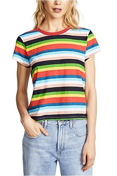 Pam & Gela - Women's H 18 Rainbow Stripe Crew Tee - Multi