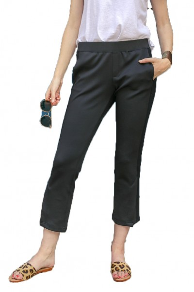 Pam & Gela - Women's Microscuba Cropped Flares Pant - Black