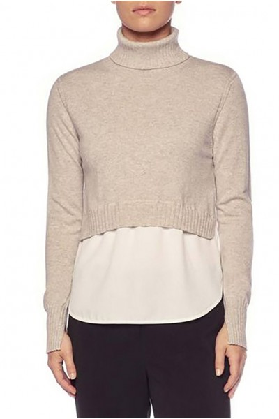 Brochu Walker - Women's Luna Layered Turtleneck Sweater - Bering Mel White