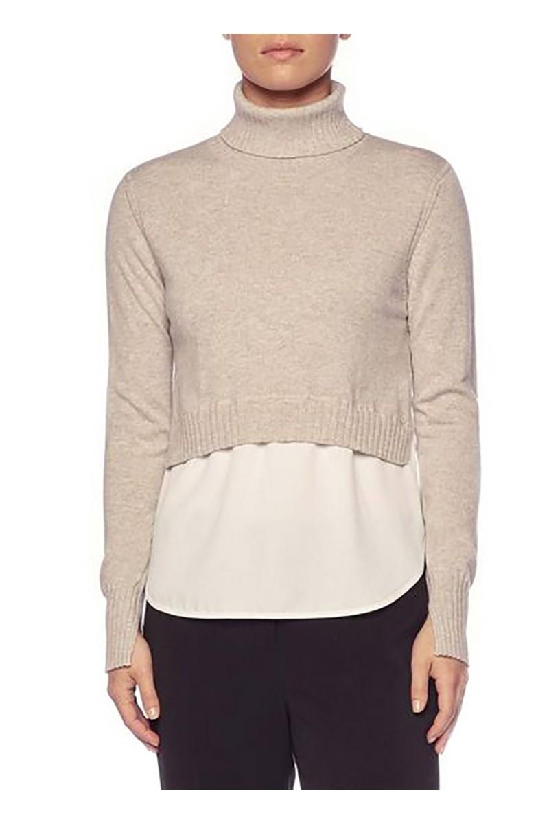 Brochu Walker - Women's Luna Layered Turtleneck Sweater - Bering Mel White