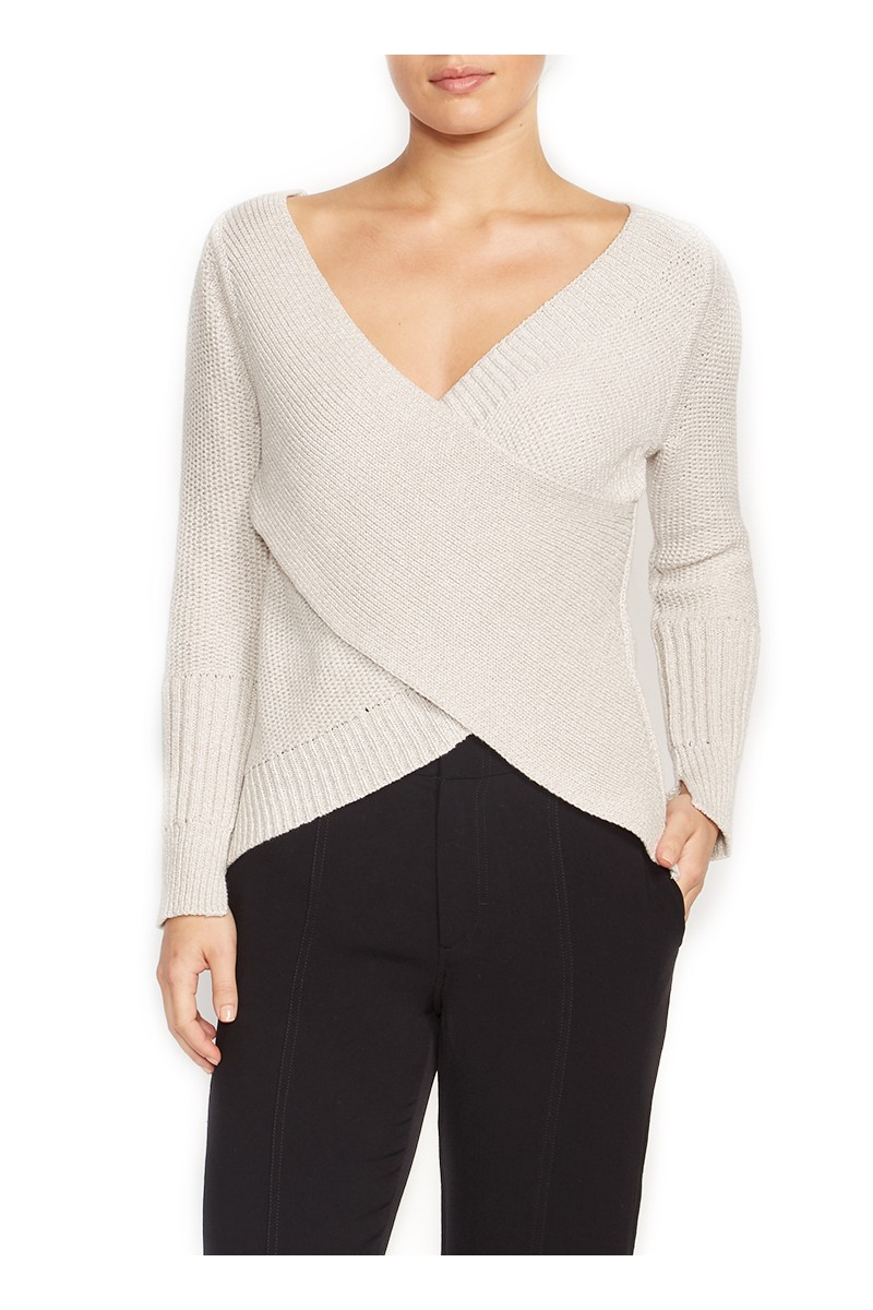 Brochu Walker - Women's Tessa Wrap Pullover - Nude Tan Combo