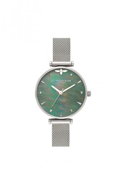 Olivia Burton - Women's Blue Mother of Pearl Watch - Silver Mesh