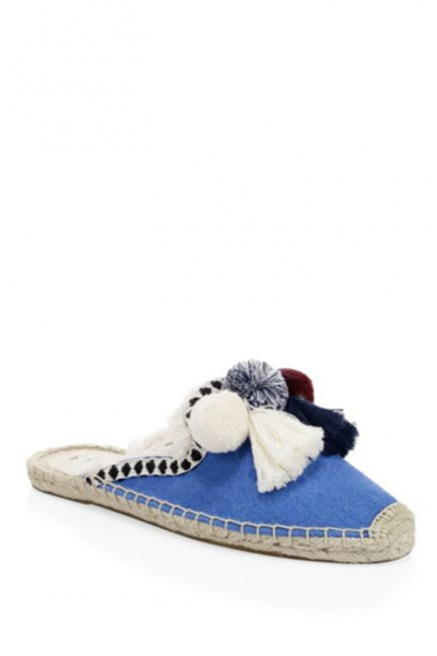 Soludos - Women's Frayed Edge Pompom Mule Slipper - Marine Blue