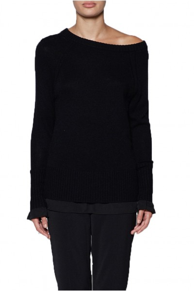 Brochu Walker - Women's Flores Layered Off Shoulder Sweater - Black