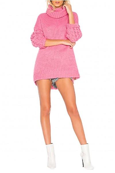 One Teaspoon - Women's Rider Roll Neck Sweater- Pink