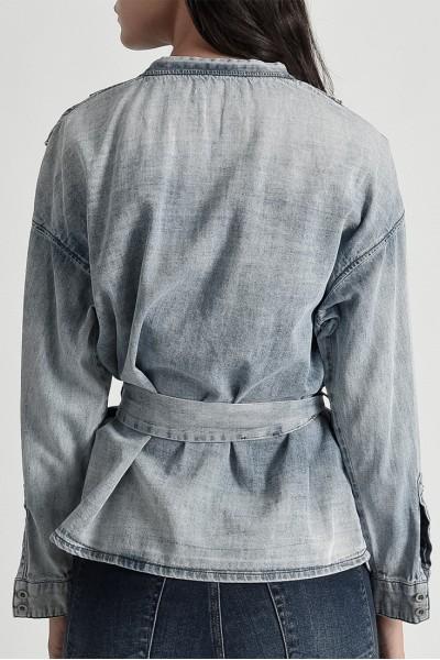 One Teaspoon - Women's Society Wrap Shirt - Blue Blossom