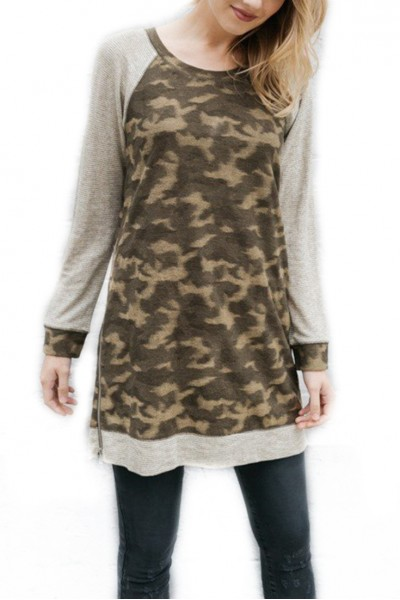 Mystree - Women's Side Zipper Detail Camo Raglan Knit Dress - Army