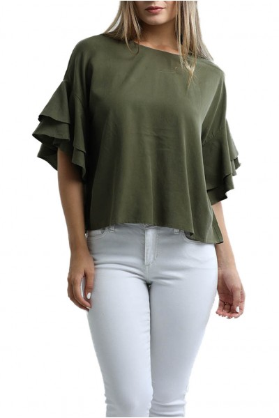 Central Park West - Women's Boulder Tencel Tee With Ruffle Sleeves - Army