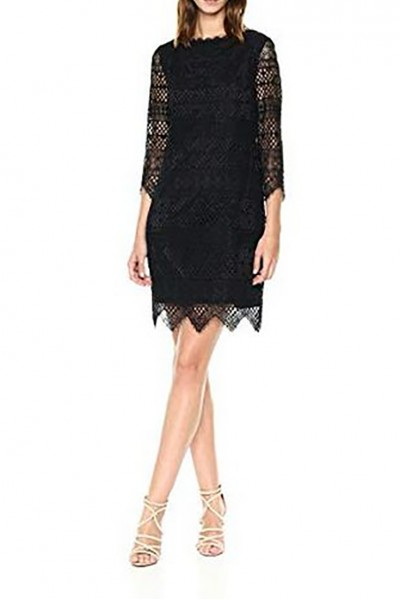 Trina Turk - Women's Geddes Blackbird Stripe Lace Dress - Black
