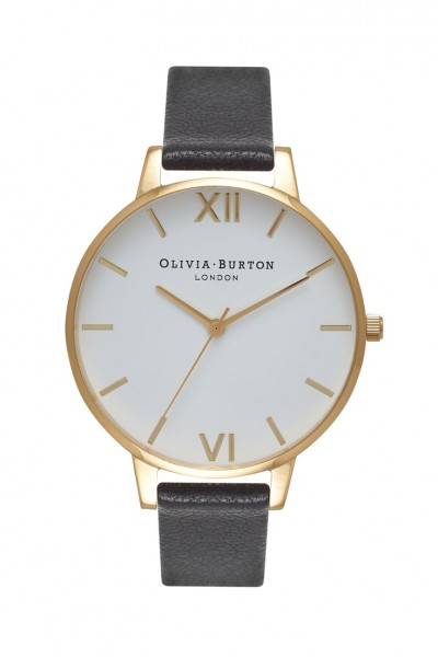 Olivia Burton - Women's Big Dial Leather Watch - White Rose Gold Black