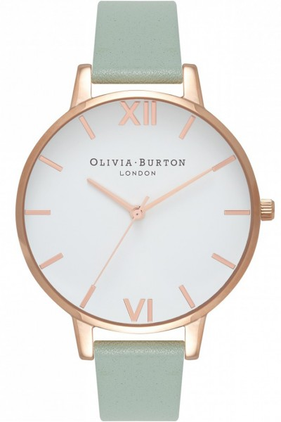 Olivia Burton - Women's Big Dial Watch - White Rose Gold Mint