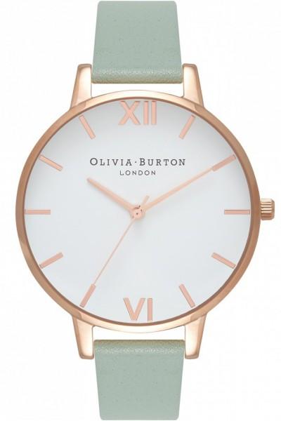 Olivia Burton - Women's Big Dial Watch - White Rose Gold Mint