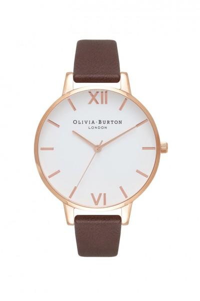 Olivia Burton - Women's Big Dial Leather Strap Watch - White Chocolate Rose Gold