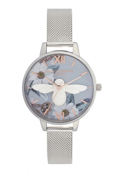 Olivia Burton - Women's Bejewelled Floral Mesh 3D Bee Demi Dial Watch - Silver