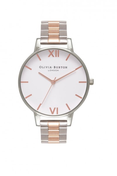 Olivia Burton - Women's Big Dial Bracelet Watch - White Silver Rose Gold