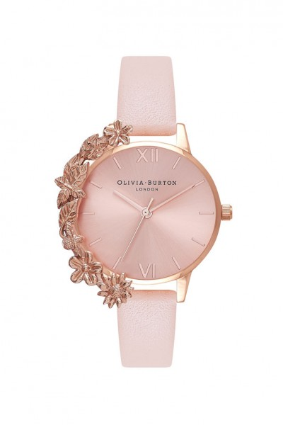 Olivia Burton - Women's Case Cuff Leather Strap Watch - Nude Peach Rose
