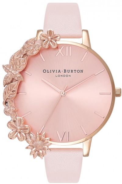 Olivia Burton - Women's Case Cuff Leather Strap Watch - Rose Gold