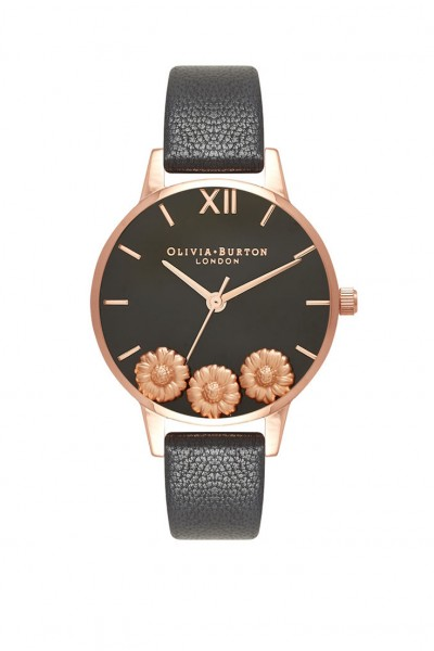 Olivia Burton - Women's Dancing Daisy Leather Strap Watch - Black Rose Gold