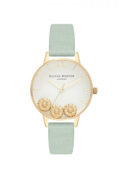 Olivia Burton - Women's Big Dial Dancing Daisy Watch - Sage Gold