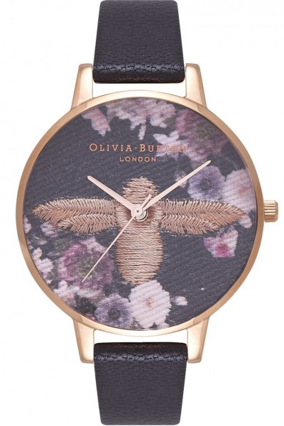 Olivia Burton - Women's 3D Bee Embroidered Enchanted Garden Watch - Gold Black