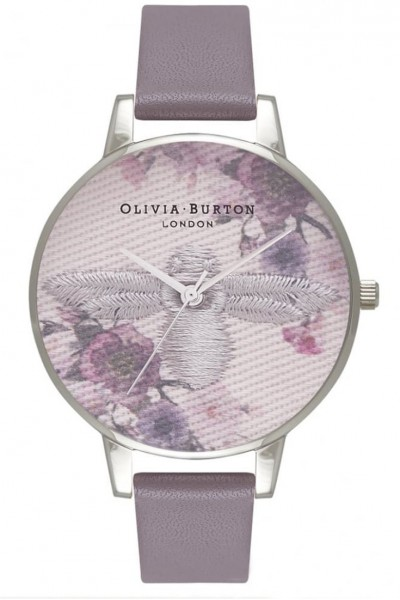 Olivia Burton - Women's Embroidered Dial 3D Bee Leather Watch - Grey Silver