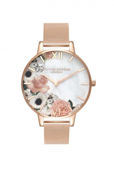 Olivia Burton - Women's Marble Florals Rose Gold Mesh - Rose Gold