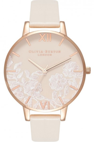 Olivia Burton - Women's Lace Detail Rose Gold & Vegan Nude Watch - Multicolour Nude