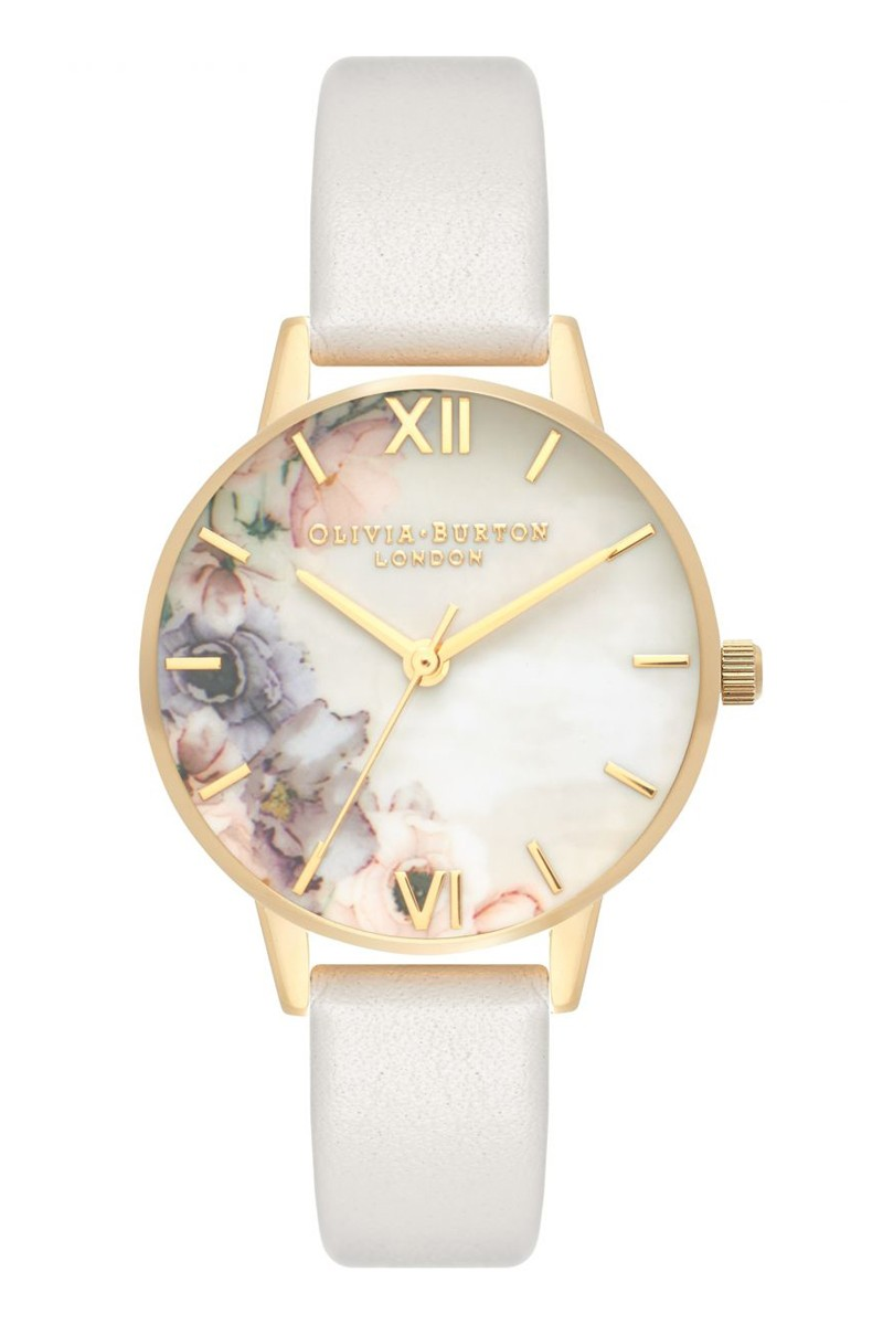 Olivia Burton - Women's Watercolour Florals Silver & Blush Watch - Multicolour Off white