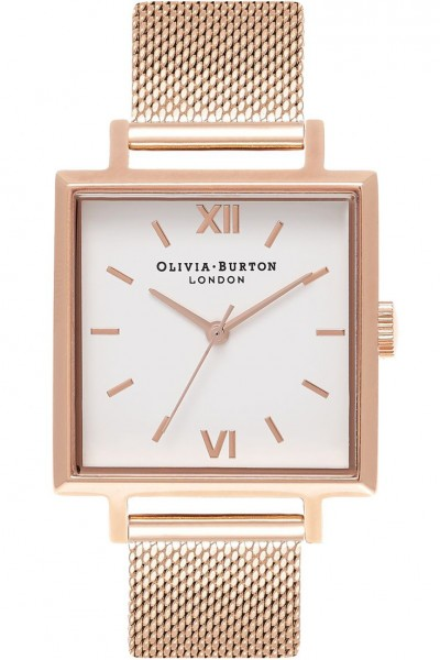 Olivia Burton - Women's Midi Square Dial Silver Rose Gold & Rose Gold Watch - White Rose Gold