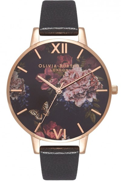 Olivia Burton - Women's Winter Garden Rose Gold & Black Watch - MultiColour Black