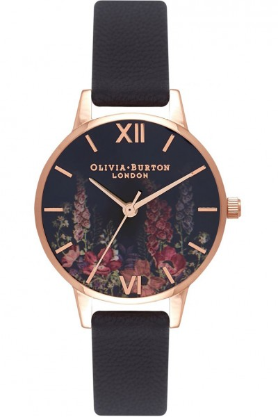 Olivia Burton - Women's Dark Bouquet Rose Gold & Black Watch - MultiColour Black