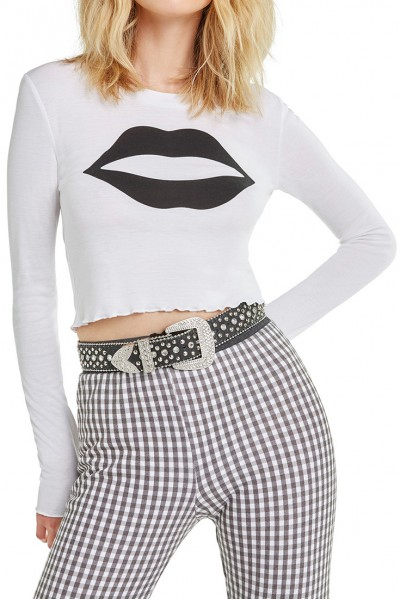 Wildfox - Ready My Lips Ren Long Sleeve - Clean White