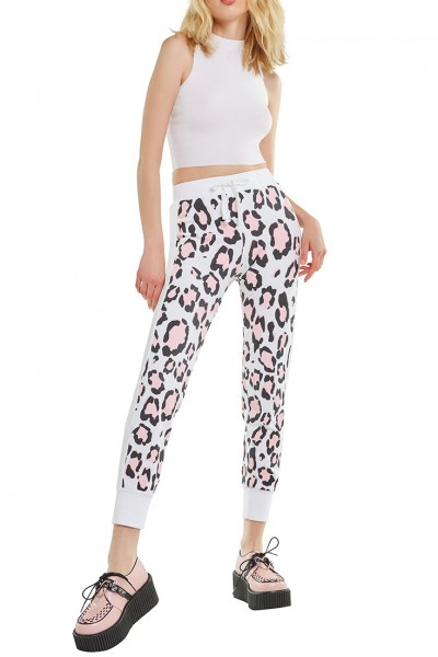 Wildfox - RE18B - Blush Leopard Bottoms Sport Jack Jogger - Clean White