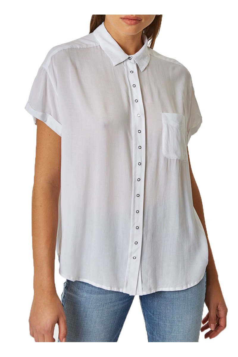 Pistola - RE18A - Courtney Cuffed Short Sleeve Shirt - Blanc