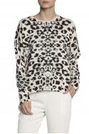 Brochu Walker - SP19A - Brighter Printed Crew Sweater - Leopard Print
