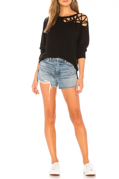 LNA - Women's Waver Sweatshirt - Black