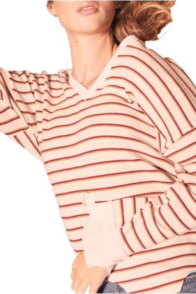 LNA - Women's Brushed Bitten Sweater - Stripe