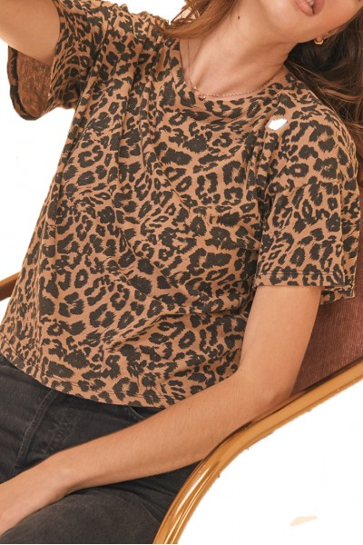 LNA - Women's Leopard Print Boxy Fit Crew Neck Tee - Leopard
