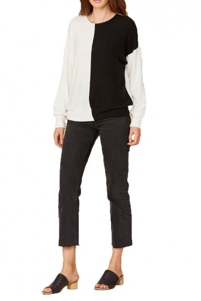 LNA - Women's Brushed Ivory Sweater - Black White