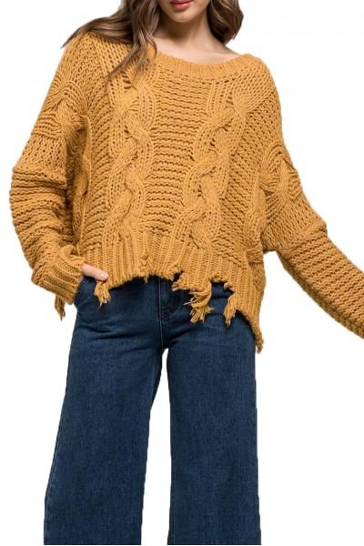 Moon River - Women's Distressed Hem Sweater - Mustard