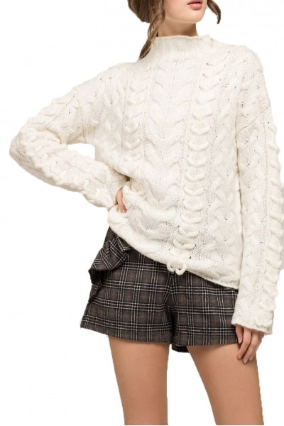 Moon River - Women's High Neck Cable Knit Sweater - Ivory