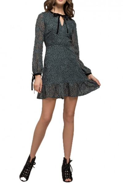 Moon River - Women's Ruffle Hem Long Sleeve Dress - Deep Teal