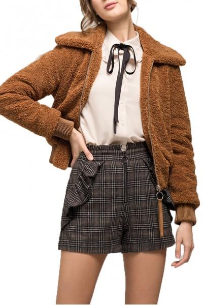 Moon River - Women's Collared Fleece Bomber Jacket - Caramel