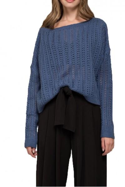 Moon River - Women's Boat Neck Sweater - Indigo