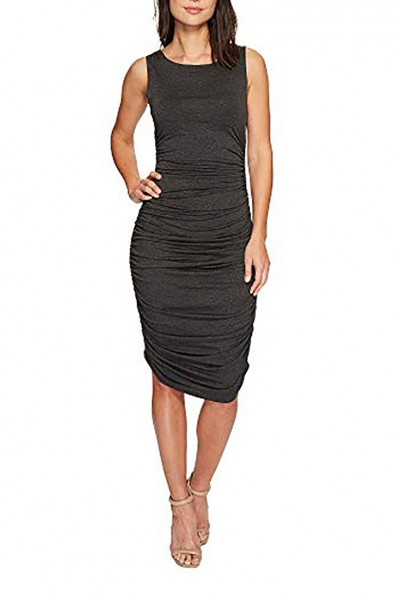 Norma Kamali - Women's Sleeveless Shirred Waisted Dress - Dark Grey