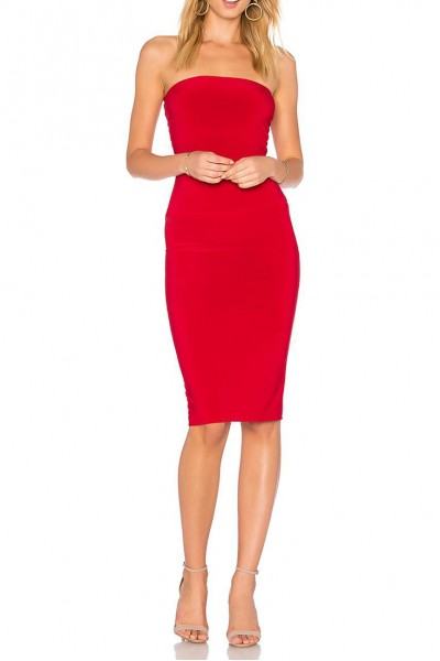 Norma Kamali - Women's Strapless Dress to knee - Red